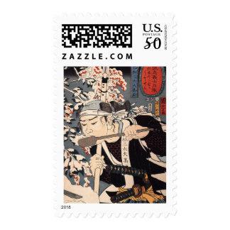 Samurai, Japanese Painting c. 1800's Postage
