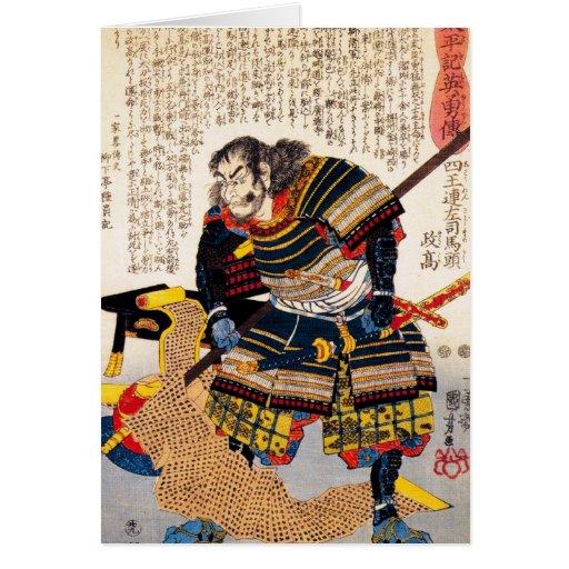 Samurai japonés clásico tradicional fresco del gue felicitaciones