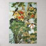 Samurai japonés en árbol impresiones