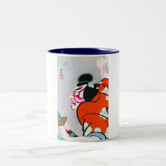Samurai japonés oriental fresco del kabuki del taza dos tonos