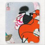 Samurai japonés oriental fresco del kabuki del woo alfombrillas de ratones