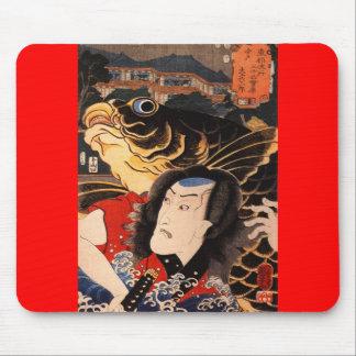 Samurai japonés que pinta C. 1800's Alfombrillas De Ratones