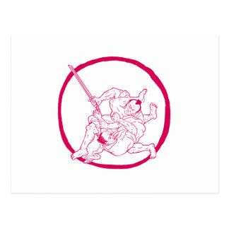 Samurai Jui Jitsu Fighting Enso Drawing Postcard