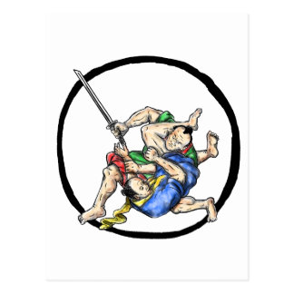 Samurai Jui Jitsu Judo Fighting Enso Tattoo Postcard