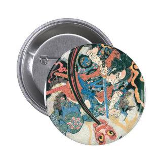 Samurai Killing a Demon, Ancient Japanese Painting Button