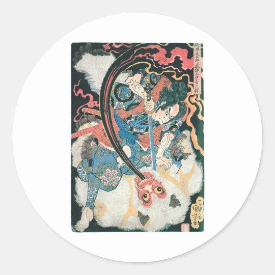 Samurai Killing a Demon, Ancient Japanese Painting Classic Round Sticker