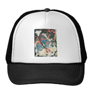 Samurai Killing a Demon, Ancient Japanese Painting Hats