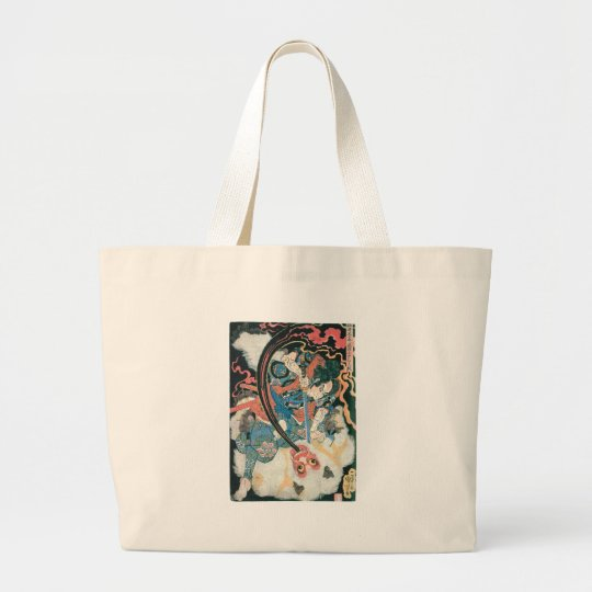 Samurai Killing a Demon, Ancient Japanese Painting Large Tote Bag