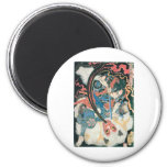 Samurai Killing a Demon, Ancient Japanese Painting Refrigerator Magnets