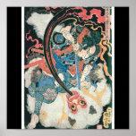 Samurai Killing a Demon, Ancient Japanese Painting Print