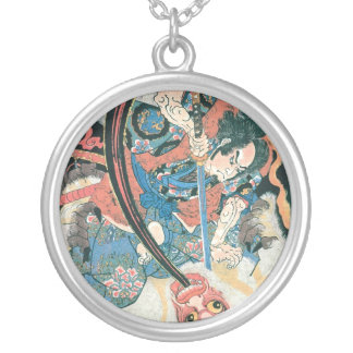Samurai Killing a Demon, Ancient Japanese Painting Silver Plated Necklace