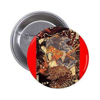 Samurai killing Tengu/bird Painting, c. 1800's Button