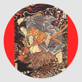 Samurai killing Tengu/bird Painting, c. 1800's Classic Round Sticker