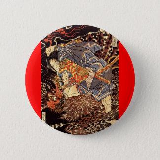 Samurai killing Tengu/bird Painting, c. 1800's Pinback Button