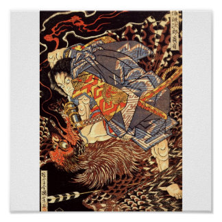 Samurai killing Tengu/bird Painting, c. 1800's Poster
