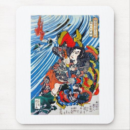 Samurai legendario japonés oriental fresco del alfombrilla de raton
