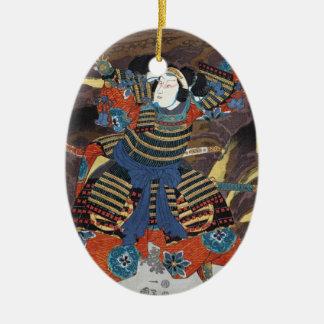 Samurai legendario japonés oriental fresco del ornamento para arbol de navidad