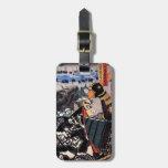 Samurai legendario japonés oriental fresco del gue etiquetas para equipaje