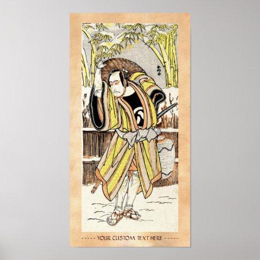 Samurai legendario japonés oriental fresco del gue posters