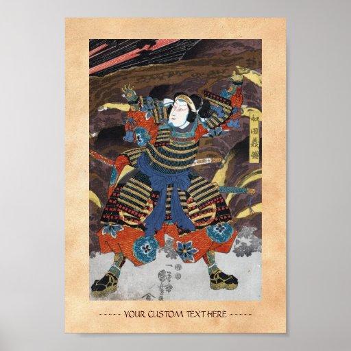 Samurai legendario japonés oriental fresco del gue póster