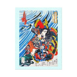 Samurai legendario japonés oriental fresco del hér impresión en lienzo