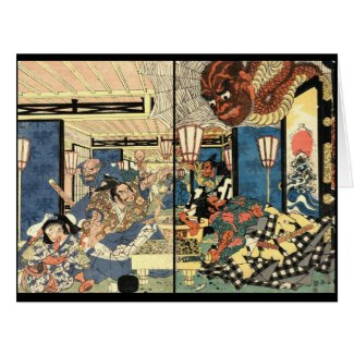 Samurai Minamoto Yorimitsu 1804 Large Greeting Card