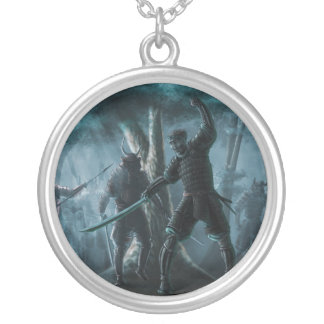 Samurai Mystique Round Pendant Necklace