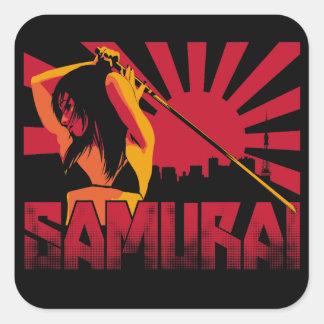 Samurai nueve pegatina cuadrada