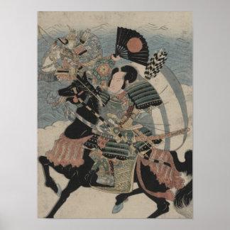Samurai on Horseback circa early 1800s Posters