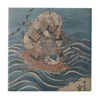 Samurai on Horseback in Water circa 1830 Japan Tiles