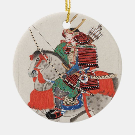 Samurai on Horseback Wearing Armor & Horned Helmet Ceramic Ornament