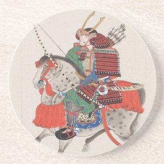 Samurai on Horseback Wearing Armor & Horned Helmet Coaster