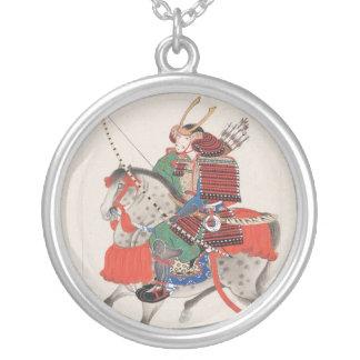 Samurai on Horseback Wearing Armor & Horned Helmet Round Pendant Necklace