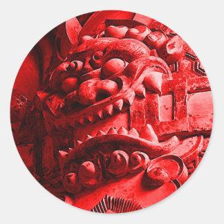 Samurai Oni Mask 赤鬼 Classic Round Sticker