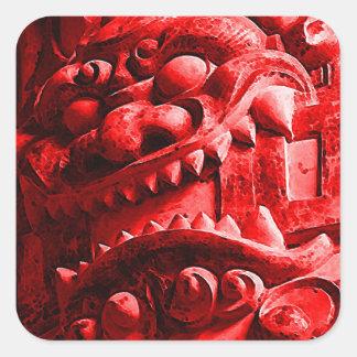 Samurai Oni Mask 赤鬼 Square Sticker