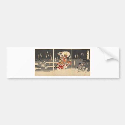 Samurai Painting circa 1898 Car Bumper Sticker