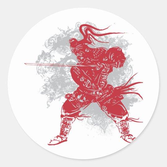 Samurai Pose Classic Round Sticker