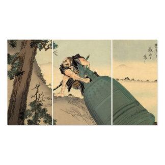 Samurai pulling giant bell circa 1890. Japan. Business Card