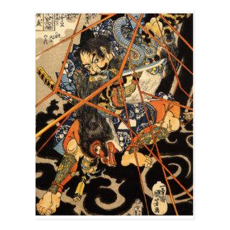 Samurai que ataca al monstruo tarjetas postales