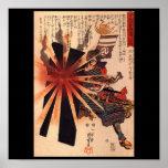 Samurai que defiende contra cáscara de estallido posters