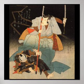 Samurai que derrota C. de pintura enemiga 1800's Póster