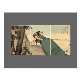 Samurai que lleva la campana gigante circa 1890 postal