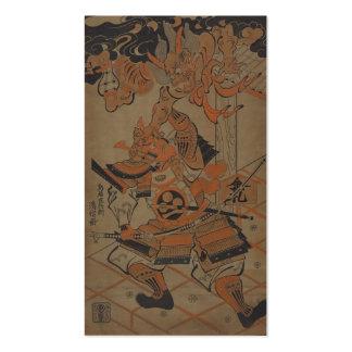 Samurai que lucha a un demonio circa 1711 tarjetas de visita