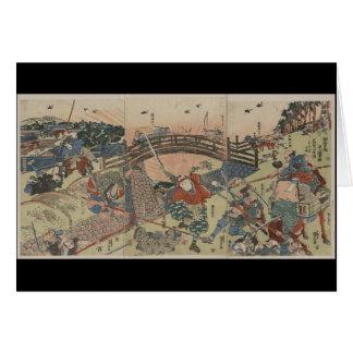Samurai que lucha con dos espadas circa Japón 1810 Tarjeta De Felicitación
