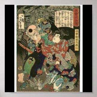 Samurai que lucha Tengu, circa 1866 Posters