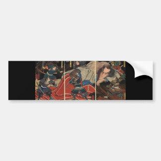 Samurai que lucha un gigante circa 1800's pegatina para auto