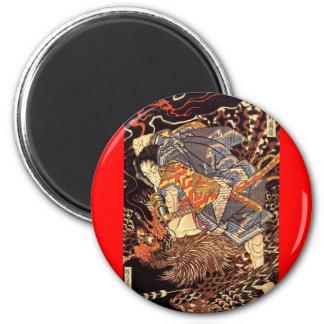 Samurai que mata a Tengu/a la pintura del pájaro,  Imán Redondo 5 Cm