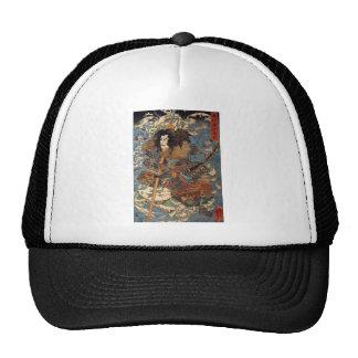 Samurai que practica surf en las partes posteriore gorra