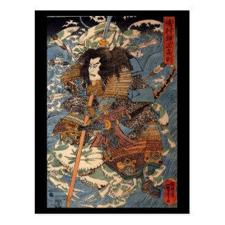 Samurai que practica surf en las partes posteriore postal