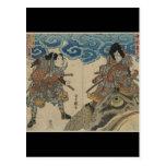 Samurai que se sienta en sapo gigante circa 1830 tarjeta postal